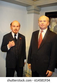 Amsterdam, Netherlands - Apirl 5, 2010. Wax figures of Vladimir Lenin (Left) and Mikhail Gorbachev (Right), inside the Madame Tussauds Wax Museum in Amsterdam.