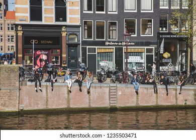 AMSTERDAM, NETHERLANDS - APR 21, 2015: View of Amsterdam with Amstel river