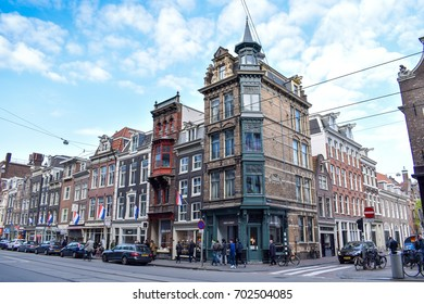 AMSTERDAM, NETHERLANDS - APR 29, 2017 : View of traditional old building. Amsterdam is the capital and most popular city of the Netherlands