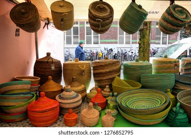 AMSTERDAM, NETHERLANDS - APRIL 08, 2017 : Lindengracht street. Saturday's Market in Jordaan. 232 stalls selling fresh produce including fish and array of cheese, gourmet goods, clothing and homewares
