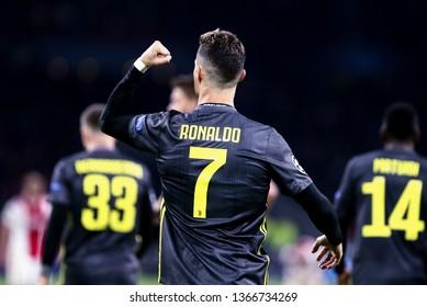 Amsterdam, Netherlands - April 10,2019. Uefa Champions League 2018/19 quarter final first leg. Ajax Amsterdam vs Juventus Fc.  Cristiano Ronaldo of Juventus FC celebrate after scores a goal .