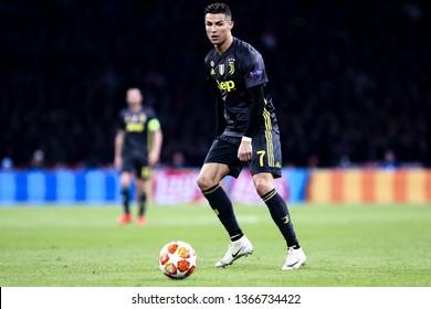 Amsterdam, Netherlands - April 10,2019. Uefa Champions League 2018/19 quarter final first leg. Ajax Amsterdam vs Juventus Fc.  Cristiano Ronaldo of Juventus FC in action .