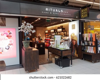 AMSTERDAM, NETHERLANDS - APRIL 12, 2017. The Rituals Home and Body Cosmetics store in Schiphol Plaza, Amsterdam.