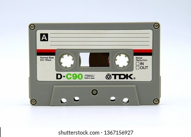 Amsterdam, the Netherlands - April 12, 2019: TDK D-C90 Audio compact cassette against a white background.