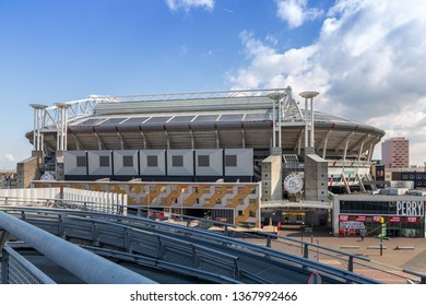 Amsterdam, The Netherlands. April 12th 2019: Johan Cruijff ArenA. Formerly known as the Amsterdam ArenA. At 2018 it's official changed to the Johan Cruyff ArenA. Johan was a Dutch top football player