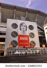 Amsterdam, The Netherlands. April 12th 2019: Johan Cruijff ArenA. Formerly known as the Amsterdam ArenA. The stadium has been called after the great Dutch soccer player Johan Cruijff