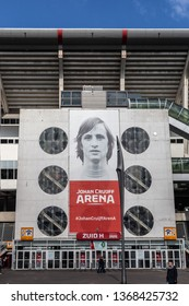 Amsterdam, The Netherlands. April 12th 2019: Entrance of the Johan Cruijff ArenA. Formerly known as the Amsterdam ArenA at the Bijlmer.