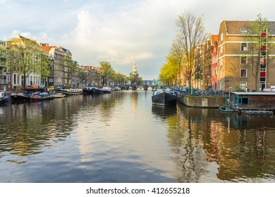 Amsterdam , the Netherlands - April 13, 2016: Amsterdam canal scene landscape