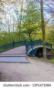 AMSTERDAM, NETHERLANDS - APRIL 13, 2019: Vondelpark in Amastedam on a beautiful blue day. Netherlands
