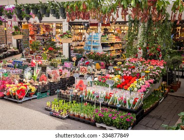 Amsterdam, Netherlands - April 16, 2015: The flower market in Amsterdam, Netherlands. The flower market is a popular touristic destination