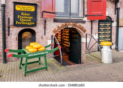 Amsterdam, Netherlands - April 16, 2015: Traditional cheese shop on a street in Amsterdam, Netherlands.