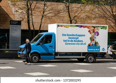 Amsterdam, The Netherlands. April 16th 2019: Still of Albert Heijn food delivery service