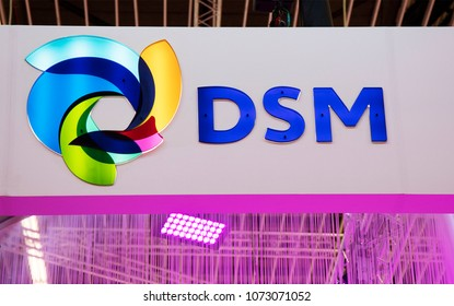 Amsterdam, Netherlands -april 19, 2018: Letters DSM in a building in Amsterdam