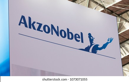 Amsterdam, Netherlands -april 19, 2018: Akzo nobel letters at a expostion in Amsterdam