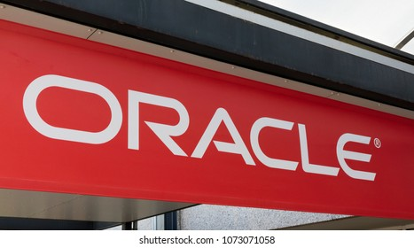 Amsterdam, Netherlands -april 19, 2018: Oracle letters on a building in Amsterdam