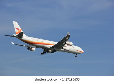 Amsterdam the Netherlands - April, 19th 2018: PZ-TCR Surinam Airways Airbus A340-300 on final approach to Schiphol Polderbaan runway, Amsterdam Airport Schiphol