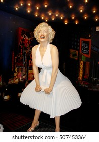 Amsterdam, Netherlands - April 2, 2010. A wax figure of Marilyn Monroe, inside the Sex Museum in Amsterdam.