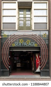Amsterdam, Netherlands - April 20, 2017: Sex Palace in the red light district of Amsterdam, The Netherlands