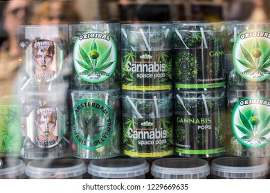 Amsterdam, Netherlands - April 20, 2017: A selection of cannabis cookies in a shop window in Amsterdam, Netherlands