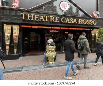 Amsterdam, Netherlands - April 20, 2017: Theatre Casa Rosso, Amsterdam, Holland. Club in the red light district (De Wallen) famous for its live sex shows.