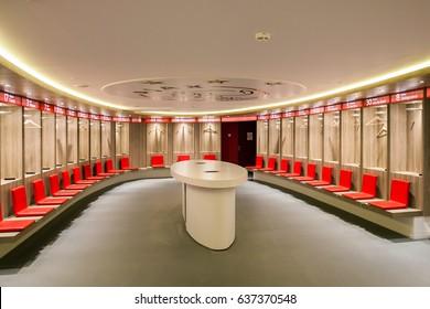 Amsterdam, Netherlands - April, 2017: Interior view of dressing room on Amsterdam Ajax Football Arena