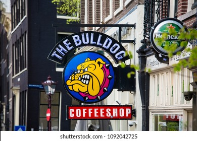 Amsterdam, Netherlands - April, 2018: The famous coffeshop Bulldog in Amsterdam city, Netherlands