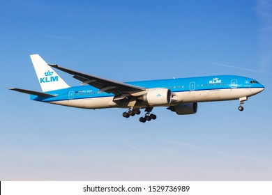 Amsterdam, Netherlands – April 21, 2015: KLM Royal Dutch Airlines Boeing 777 airplane at Amsterdam Schiphol Airport (AMS) in the Netherlands.