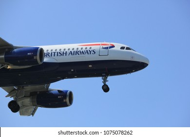 Amsterdam the Netherlands - April, 21st 2018: G-EUYV British Airways Airbus A320  final approach to Schiphol Aalsmeerbaan runway Amsterdam Airport Schiphol