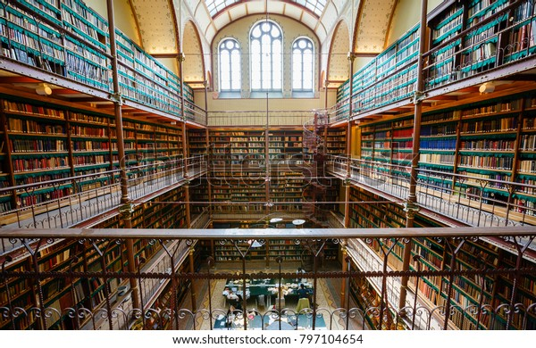 AMSTERDAM, NETHERLANDS - APRIL 22, 2016: Rijksmuseum Research Library has the most extensive art history library in the Netherlands. Items have been collected since 1885.