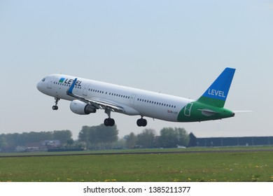 Amsterdam the Netherlands - April 22nd, 2019: OE-LCP LEVEL Airbus A321-200 takeoff from Polderbaan runway, Amsterdam Airport Schiphol