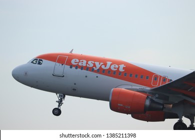 Amsterdam the Netherlands - April 22nd, 2019: OE-IVW easyJet Europe Airbus A320-200 takeoff from Polderbaan runway, Amsterdam Airport Schiphol