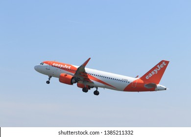 Amsterdam the Netherlands - April 22nd, 2019:G-UZHK easyJet Airbus A320neo takeoff from Polderbaan runway, Amsterdam Airport Schiphol