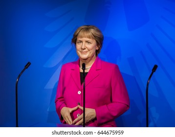 AMSTERDAM, NETHERLANDS - APRIL 25, 2017: Angela Merkel wax statue in Madame Tussauds museum on April 25, 2017 in Amsterdam Netherlands.