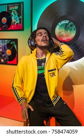 AMSTERDAM, NETHERLANDS - APRIL 25, 2017: Bob Marley wax statue in Madame Tussauds museum on April 25, 2017 in Amsterdam Netherlands.