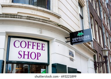 AMSTERDAM, THE NETHERLANDS - APRIL 27, 2013: Coffe Shop sign in the Red Light district