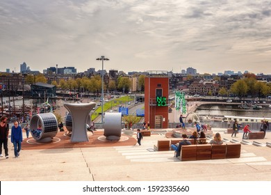Amsterdam, Netherlands - April 29, 2016: Amsterdam city view from Nemo science museum viewpoint, scenic cityscape, outdoor travel background
