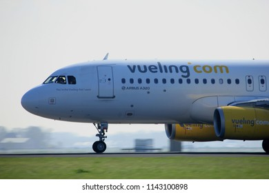 Amsterdam the Netherlands - April 2nd, 2017: EC-MEL Vueling Airbus A320-200 takeoff from Polderbaan runway, Amsterdam Airport Schiphol