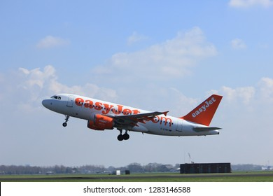 Amsterdam the Netherlands - April 2nd, 2017: G-EZMH easyJet Airbus A319-100 takeoff from Polderbaan runway, Amsterdam Airport Schiphol