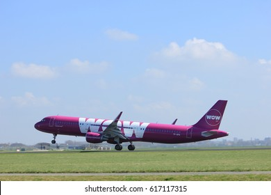 Amsterdam the Netherlands - April 2nd, 2017: TF-GPA WOW air Airbus A321-200 takeoff from Polderbaan runway, Amsterdam Airport Schiphol