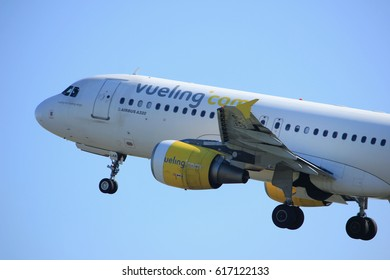 Amsterdam the Netherlands - April 2nd, 2017: EC-LAB Vueling Airbus A320-200 takeoff from Polderbaan runway, Amsterdam Airport Schiphol
