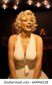 Amsterdam, Netherlands - April 30, 2014. A wax figure of Marilyn Monroe, inside the Sex Museum in Amsterdam.