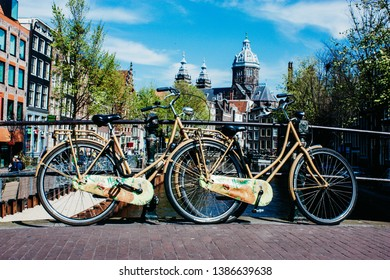 Amsterdam Netherlands April 30, 2019 Closed up of a bicycle parked in the streets of Amsterdam in the afternoon