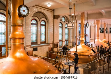 AMSTERDAM, NETHERLANDS - APRIL 4, 2018: Interior of Heineken Experience, a historic brewery and corporate visitor center for the internationally distributed Dutch pilsner, Heineken beer.