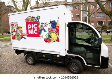 Amsterdam, Netherlands -april 7, 2018: delivery car of the online supermarket picnic