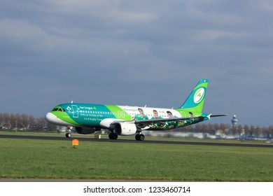 "Amsterdam the Netherlands - April 7th, 2017: EI-DEI Aer Lingus Airbus A320-200 takeoff from Polderbaan runway, Amsterdam Airport Schiphol. Painted in ""Irish Rugby Team"" special colours"