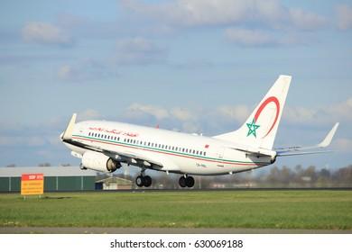 Amsterdam the Netherlands - April 7th, 2017: CN-RNL Royal Air Maroc Boeing 737 takeoff from Polderbaan runway, Amsterdam Airport Schiphol