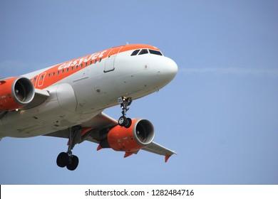 Amsterdam the Netherlands - April, 7th 2018: G-EZDS easyJet Airbus A319-100 approaching Schiphol Zwanenburgbaan runway, Amsterdam Airport Schiphol