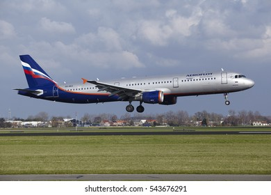 AMSTERDAM, THE NETHERLANDS - APRIL, 8. The Aeroflot Airbus A321-211 with identification VQ-BEA lands at Amsterdam Airport Schiphol (The Netherlands, AMS), Polderbaan on April 8, 2016.