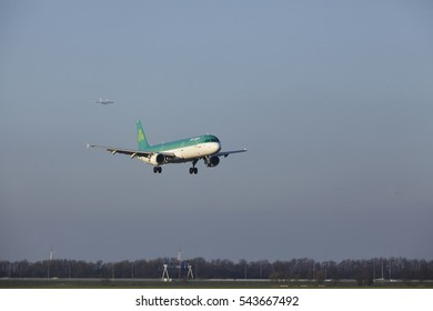 AMSTERDAM, THE NETHERLANDS - APRIL, 8. The Air Lingus Airbus A321-211 with identification EI-CPE lands at Amsterdam Airport Schiphol (The Netherlands, AMS), Polderbaan on April 8, 2016.
