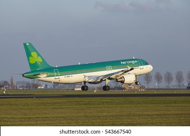 AMSTERDAM, THE NETHERLANDS - APRIL, 8. The Air Lingus Airbus A320-214 with identification EI-DEB lands at Amsterdam Airport Schiphol (The Netherlands, AMS), Polderbaan on April 8, 2016.